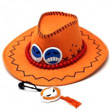 海贼王艾斯毛绒 艾斯火拳帽子 嘻哈牛仔帽 cosplay道具帽子