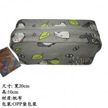 跨境爆款 宫崎骏 龙猫帆布笔袋 化妆包 龙猫文具盒 龙猫卡其丝印麻布印花笔袋