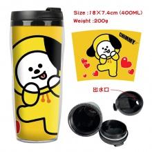 BTS防弹少年团周边双层隔热塑料杯子 运动水壶 凉水杯创意水杯小狗