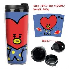 BTS防弹少年团周边双层隔热塑料杯子 运动水壶 凉水杯创意水杯爱心