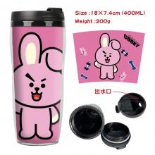 BTS防弹少年团周边双层隔热塑料杯子 运动水壶 凉水杯创意水杯兔子