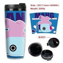 BTS防弹少年团周边双层隔热塑料杯子 运动水壶 凉水杯创意水杯小马