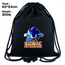 超音鼠索尼克周边黑色抽绳背包 束口袋书包