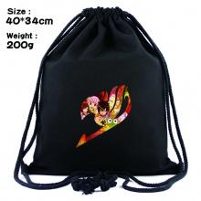 妖精的尾巴周边黑色抽绳背包 束口袋书包