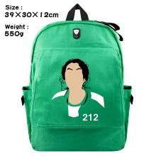 韩剧鱿鱼游戏周边翻盖绿色双肩背包 帆布书包